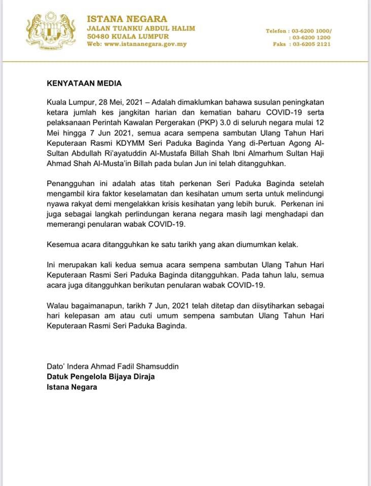 Kenyataan Media Istana Negara Malaysia