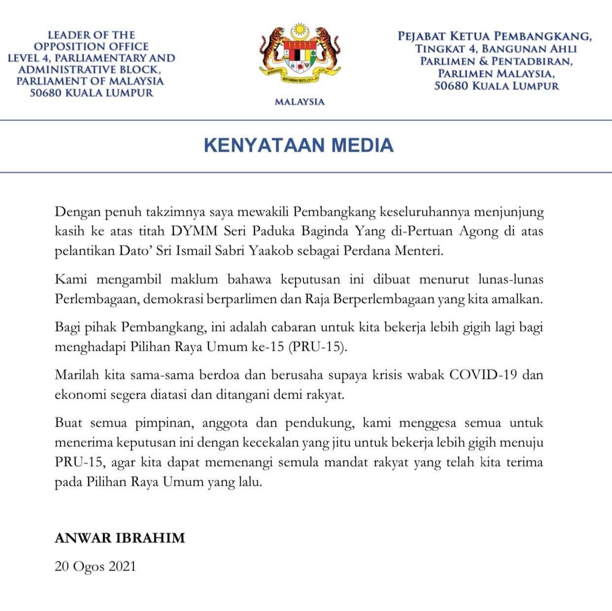 Kenyataan Media Ketua Pembangkang - Anwar Ibrahim