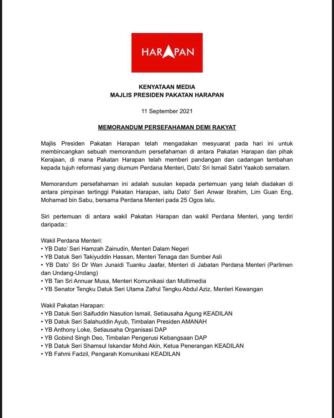 Kenyataan Media PH - 11 September 2021